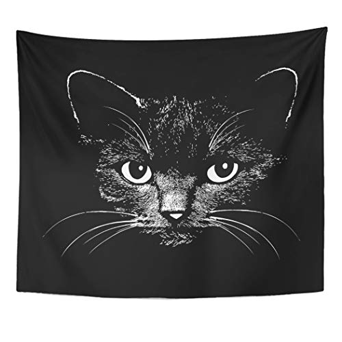 Emvency Tapestry Wall Hanging Face Cat Head Graphic Design Animal for Sketch Tattoo Halloween Drawing Silhouette 50