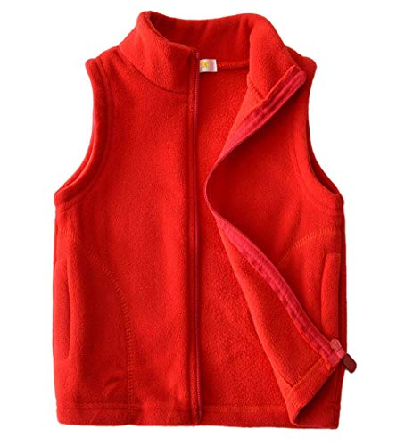 Dalary Baby Boys&Girls Polar Fleece Sleeveless Jacket Outerwear Vests (5T,Red) by Dalary