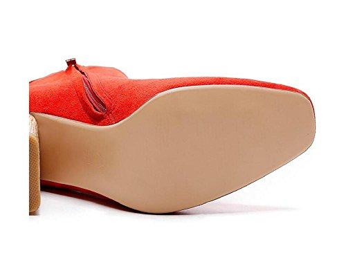Scrubs pelle Openwork piuma Frizzled Tacchi alti Stivaletti Scarpe di legno con Bootie di Martin donne , red , 35 RED-34