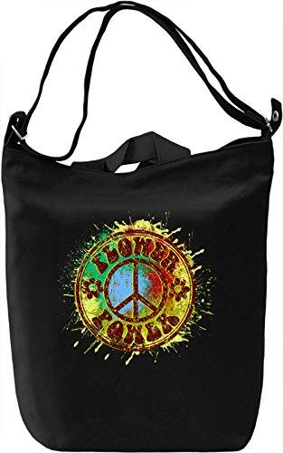 Flower Power Borsa Giornaliera Canvas Canvas Day Bag| 100% Premium Cotton Canvas| DTG Printing|
