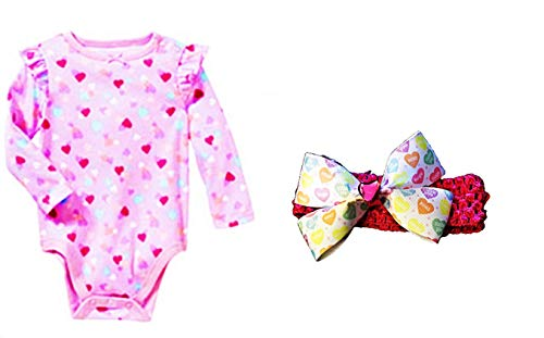 Custom Bundled Products Baby Girl Valentine's Day Hearts Long Sleeve Bodysuit + Coordinating Headband Hairbow (24 -