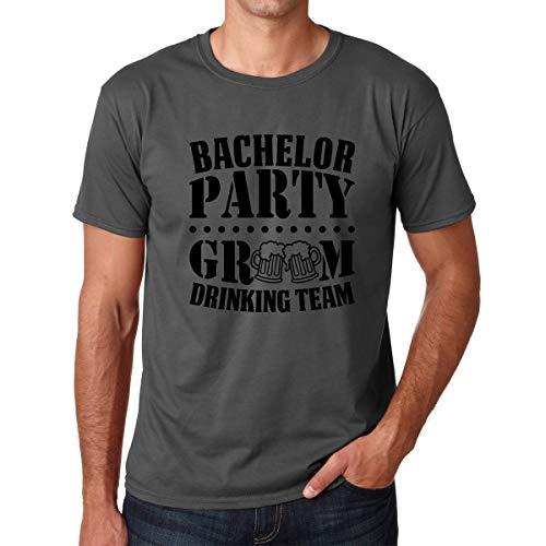 Bachelor Party Groom Drinking Team - Funny Grooms Wedding Eve Groomsman Novelty - Premium Men's Tshirt (Charcoal, Large)