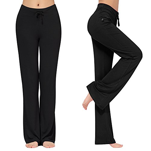 Drawstring Straight Leg Pant - KY-Troupe Women's Loose Drawstring Trouser Wide Leg Yoga Pants Sporting Straight Pants (Black, M)