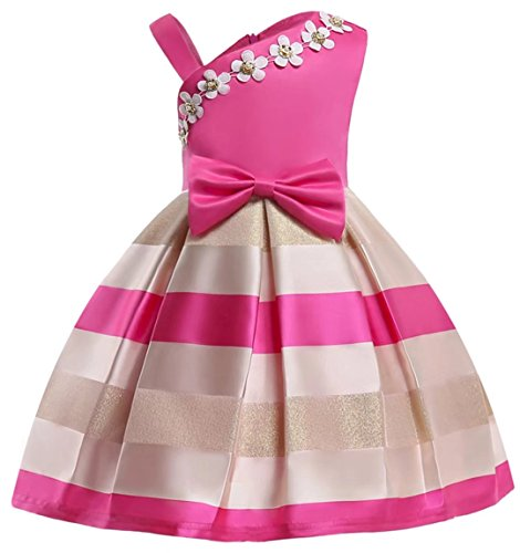 Designs Satin Flower Girl Dress - Oukaiyi Girl's Dress Party Wedding Porm Flower Casual Tutu Dresses(Rose,7-8Y)