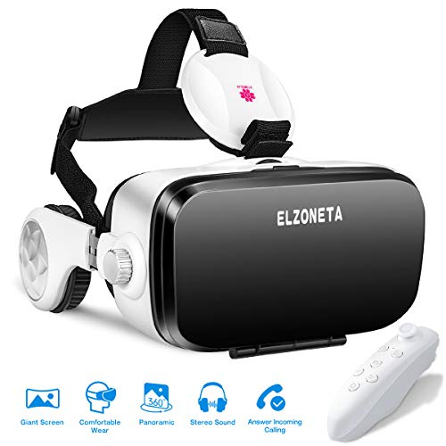 VR Headset, 3D VR Glasses Virtual Reality Headset with Bluetooth Remote Controller and Stereo Sound Earphones for VR Games & 3D Movies, Adjustable Lenses & Head Strap for iPhone and Android Smartphone by Hevisen