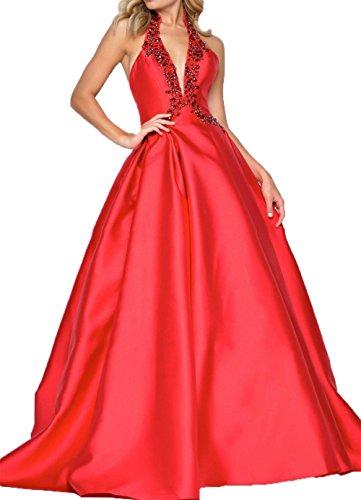 V Damen Brautjungfernkleider Abendkleider Rot Neckholder Charmant Rock Lang Satin Partykleider ausschnitt A linie wpxdTHqTE