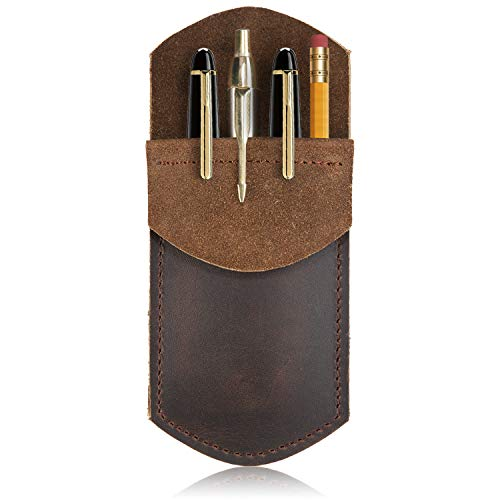 Rustic Leather Pocket Protector for Pens Pencils Office & Work Essentials Pen Holder is Handmade by Nabob Leather (Brown) ()