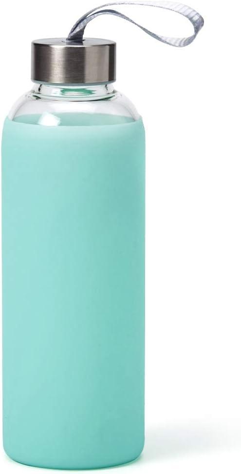 EZOWare Botella de Agua de Cristal, 550ml Sport Botella Reutilizable de Vidro Borosilicato con Funda Siliconia y Tapa de Acero Inoxidable