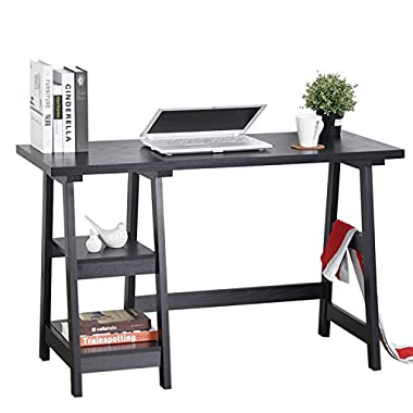 Computer Writing Desk Laptop Table Trestle PC Wood Home Office Desk Square Table Studying Reading Black Desk with 2 Open Tiers Shelves Armoire