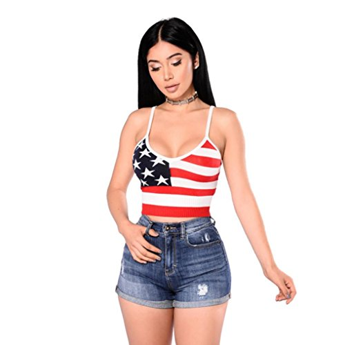Start Women's American Flag Crop Top Vest Tanks Camis Shirt Blouse Shirt (US=4, Red)