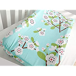 Sahaler Baby Changing Pad Cover Girl Original Cotton Changing Table Pad Diaper Liners Baby Changing Table Cover - Green Floral