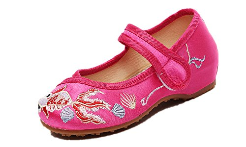 (Tianrui Crown Girl's Goldfish Embroidery Mary-Jane Shoes Kid's Cute Flat Shoe Rose)