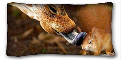 Soft Pillow Case Cover ( Animals giraffe squirrel Friends ) DIY Pillow Cover Size 20