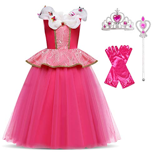 HNXDYY Cinderella Costume Princess Girls Fancy Carnival Party Dress Size(140) 6-7 Years Rose ()