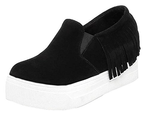 Mid Heighten Stylish Slip Black On Sneakers SHOWHOW Antiskid Heel Fringe Shoes Womens Suede Platform Elastic 0zww1xnS