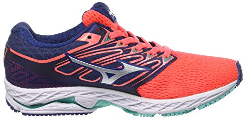 White WOS Shoes 08 Wave Women's Shadow Orange Blue Mizuno Fierycoral Bluedepths Running wpqzx1nt