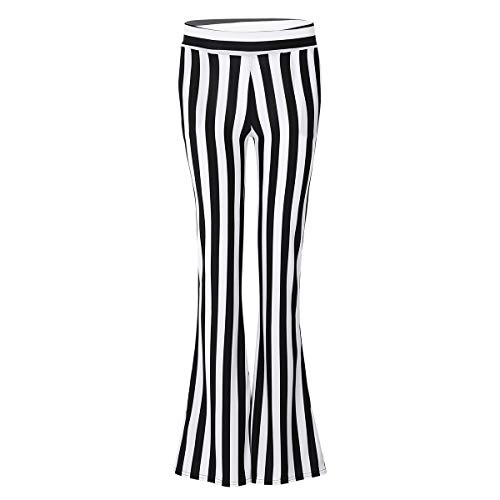 ACSUSS Womens High Waist Vertical Striped Bell Bottom Flare Legging Long Pants Black&White Large