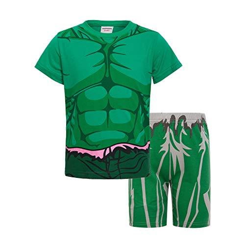 Sidney Boys Summer Hulk Pajamas Sets Cotton Green (6t, Short) -