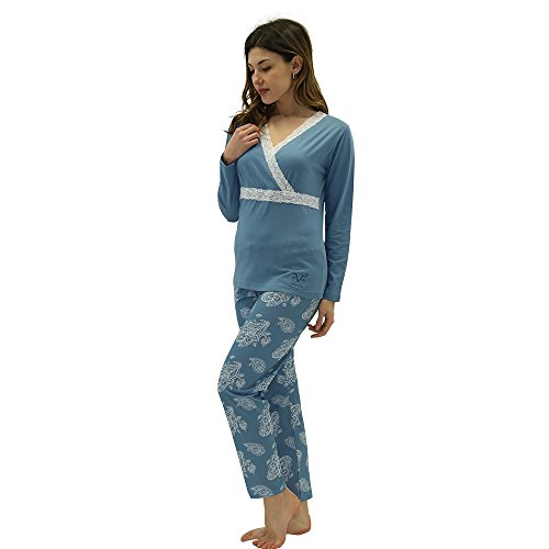 Versace 19.69 - Pijama 27-911V para mujer, 100% algodón, manga larga - talla M