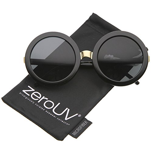 zeroUV - Womens Retro Bold Oversized Jackie O Round Sunglasses 56mm (Black / - Sunglasses The Row Round