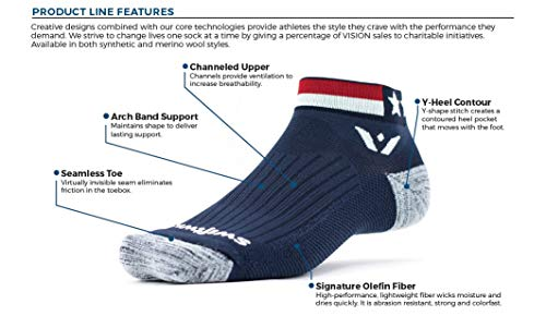 Swiftwick- VISION ONE SPIRIT | Socks Built for Running and Cycling | Creative Designs, Cushioned Ankle Socks | Blue/White/Red, X-Large