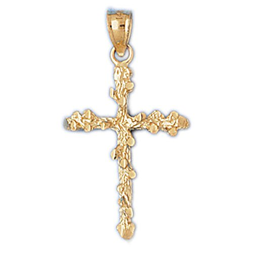 (14K Yellow Gold Nugget Cross Necklace - 29 mm)