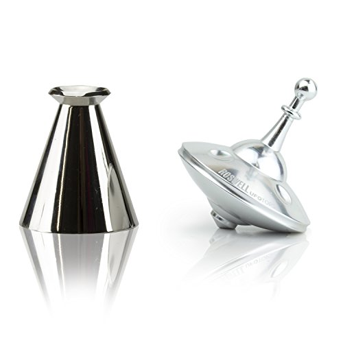 UFO Tops - Roswell Cosmic Chrome with LightRay Base - Precision Machined Metal Spinning Top and Stainless Steel Base