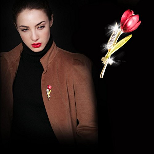 Botrong Elegant Tulip Flower Brooch Rhinestone Crystal Costume Jewelry]()