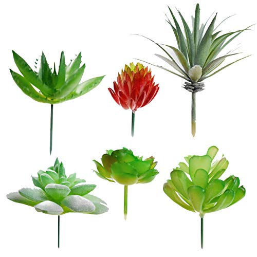 Assorted Fake Succulent Plants 6 Pack - Realistic Looking Artificial Succulent Plants Unpotted for DIY Crafting, Faux Succulents Stems Bouquet | Textured Succulent Centerpieces for Home Decor Accents