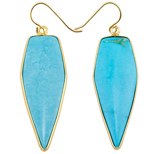 rockcloud Crystal Stone Dangle Earrings Gold Plated,Sword Shape,Blue Howlite Turquoise ()