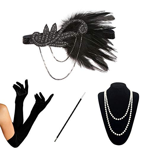 HAMIST 1920s Accessories Set Flapper Costume for Women Headband Gloves Cigarette Holder Necklace (S4-5832) -