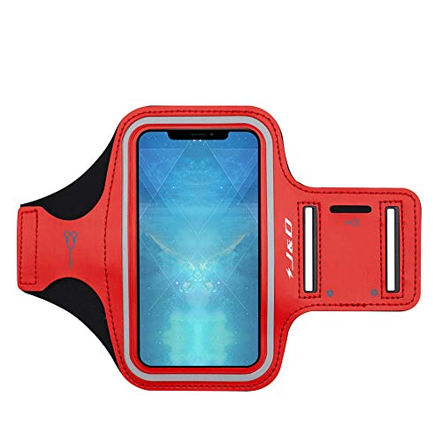 J&D Armband Compatible for iPhone XR Armband, Sports Armband with Key Holder Slot for Apple iPhone XR Running Armband, Perfect Earphone Connection While Workout Running - Red