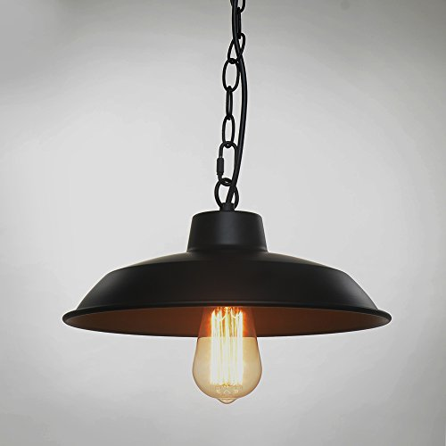 SPARKSOR Pendant Lamp 1-Light, Retro Industrial Pendant Lighting, Black Paint, Metal aluminum, 11.8 inch diameter, Ceiling (non-plug),Adjustable Hanging Height