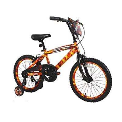 "Dycft Your Little Guy is Going to Have a Blast Riding Around, Unique and Exciting 18"" Boys Firestorm Bike, with Handlebar Shield, Adjustable, Removable Training Wheels, Front, Rear Caliper Brakes : Sports & Outdoors"