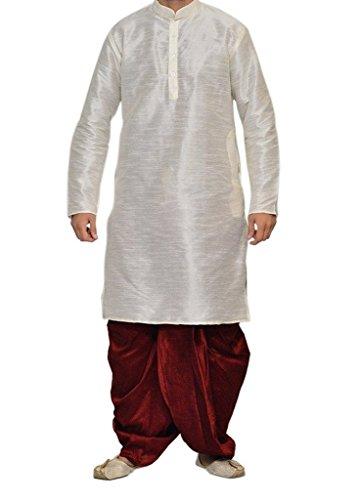 Dhoti Kurta (Wondercraft Royal Kurta Indian Traditional Wear Men's White Silk Blend Dhoti Kurta Set New Ethnic Wear)