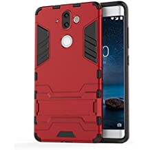 Nokia 8 Sirocco Case, TopACE Slim Robot Armor Stand Shockproof Hybrid Rugged Rubber Hard back Case for Nokia 9 / Nokia 8 Sirocco (Red)