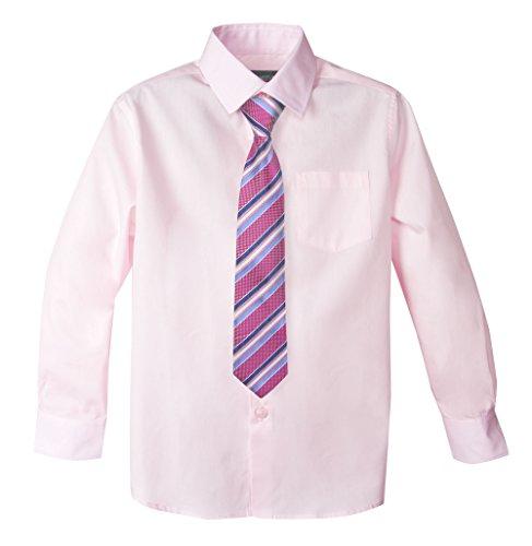 Spring Notion Big Boys' Cotton Blend Dress Shirt and Tie Set 7 Marshmallow Pink