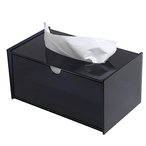Modern Black Bathroom Facial Tissue Dispenser Box Cover / Decorative Napkin Holder - MyGift Home (Plastic Tissue)