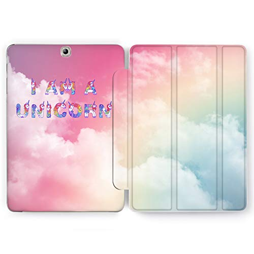 Wonder Wild I Am Unicorn Samsung Galaxy Tab S4 S2 S3 Smart Stand Case 2015 2016 2017 2018 Tablet Cover 8 9.6 9.7 10 10.1 10.5 Inch Clear Sky Clouds Rainbow Heaven Fog Multicolored Teens Iridescence]()