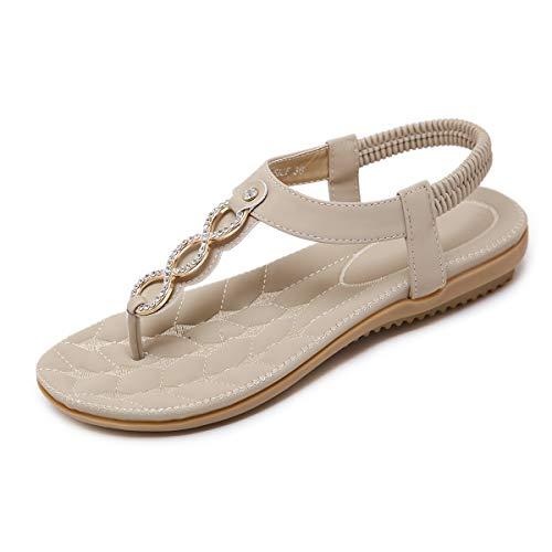 SANMIO Women Summer Flat Sandals Shoes,Bohemian T Strap Prime Thong Shoes Flip Flop Shoes Apricot ...