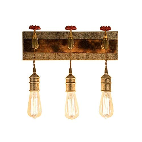 KunMai Vintage Metal Water Pipe Edison Bulb Hanging Indoor Wall Light Sconce Fixture Retro Style (3-Light)