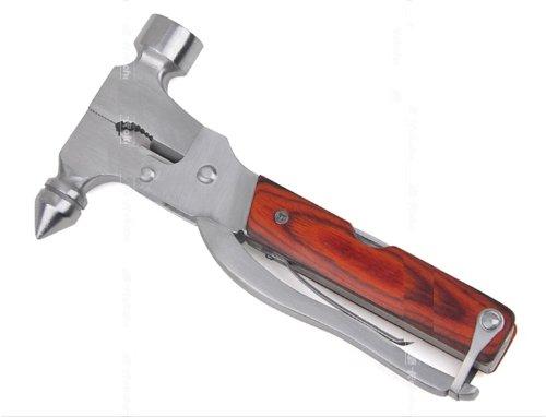 めちゃ×2売れてるッ これは便利 緊急脱出ハンマー & マルチツール 15機能 木目 I14-04-mo