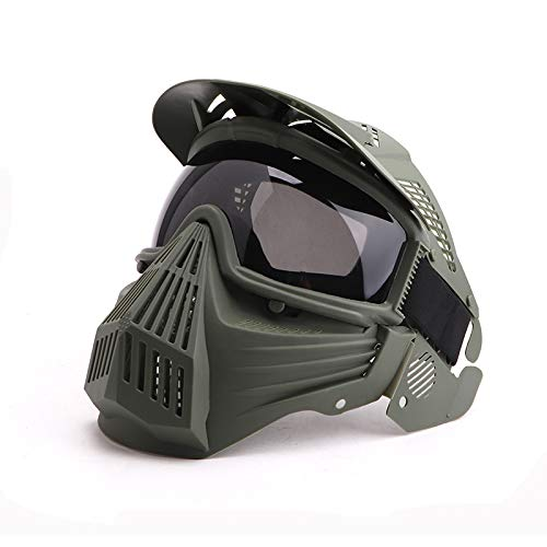 Anyoupin Paintball Mask, Airsoft Mask Full Face with Goggles Impact Resistant for Airsoft BB Hunting CS Game Paintball and Other Outdoor Activities (Green-Gray lens1)