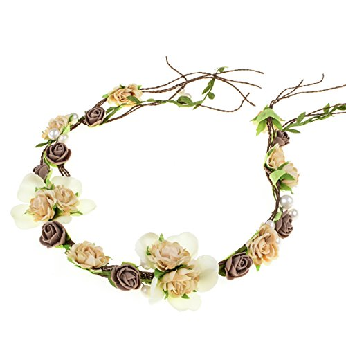 Floral Fall Adjustable Bridal Flower Garland Headband Flower Crown Hair Wreath Halo F-83 (Coffee)
