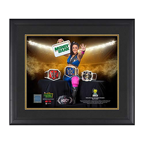 WWE Authentic Wear Bayley Grand Slam Champion 20 x 24 Used Ring Canvas Plaque (Wwe Wrestlemania 24 Money In The Bank)