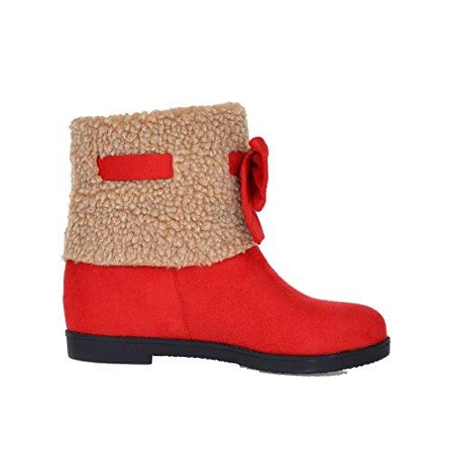 AllhqFashion Damen Niedriger Absatz Gemischte Farbe Mattglasbirne Ziehen auf Stiefel, Rot, 41