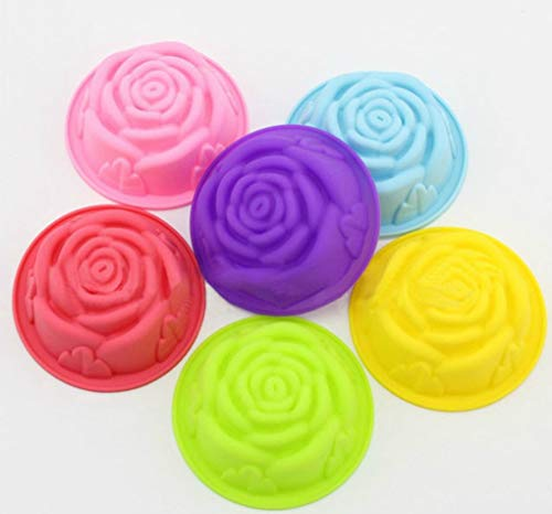 6 Pcs Madeleine Rose Silicone Cake Bread Mold Cookie Baking Moulds Christmas Pastry -