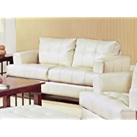 Cream Classic Leather Loveseat