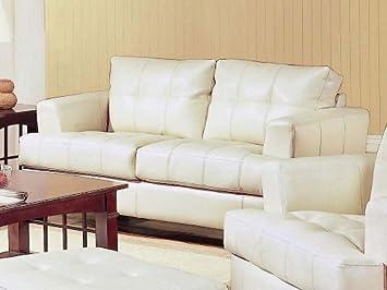 Tremendous Cream Classic Leather Loveseat Bralicious Painted Fabric Chair Ideas Braliciousco