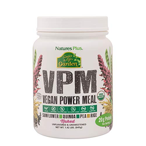 NaturesPlus Source of Life Garden Certified Organic VPM Naked Protein - 1.42 lbs, Protein Powder - Unflavored, Unsweetened - Vegan Meal Replacement - Soy-Free - Gluten-Free - 15 Servings